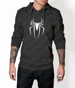 Mens Spiderman Logo Grey Hoodie