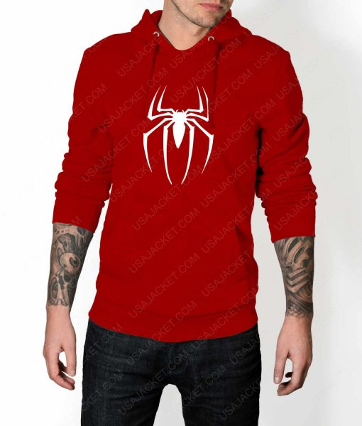 Mens Spiderman Logo Red Hoodie