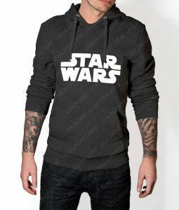 Mens Star Wars Title Logo Grey Hoodie