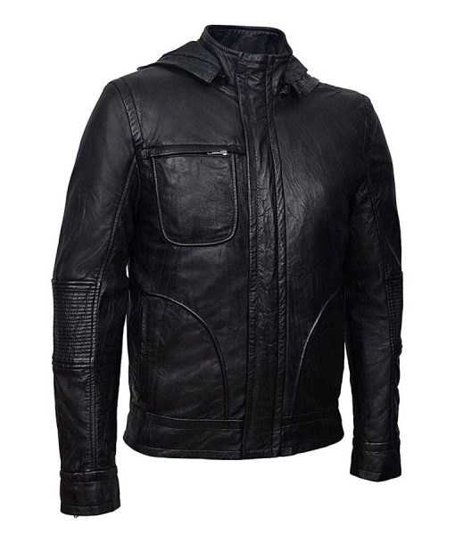 Ethan Hunt Mission Impossible 4 Tom Cruise Mission Slimfit Leather Hooded Black Jacket