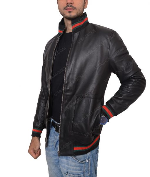 Eminem Black Leather Slimfit Bomber Jacket