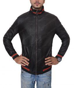 Not Afraid Eminem Black Leather Bomber Jacket