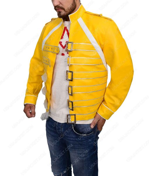 Queen Rock BandFreddie Mercury Yellow Leather Jacket
