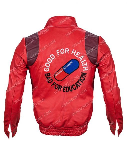 Good For Health Bad For Education Red Leather Jacket