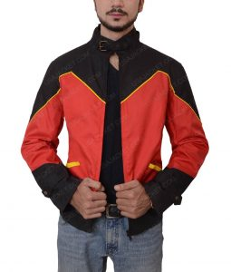 Robin Tim Drake Red Slimfit Leather Jacket
