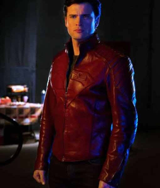 Tom Welling Red Leather Jacket