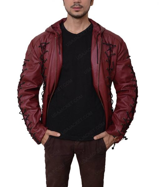 Roy Harper Arrow Arsenal Hooded Leather Jacket