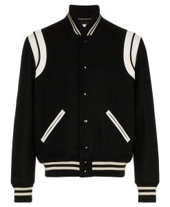 SLP Teddy Bomber Black & White Trimmed Varsity Jacket