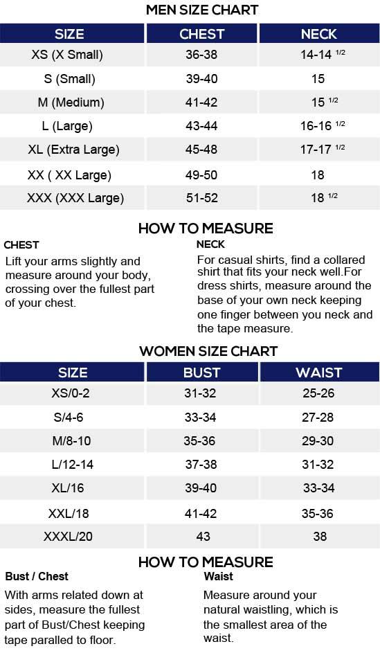 USA Jacket Size Chart