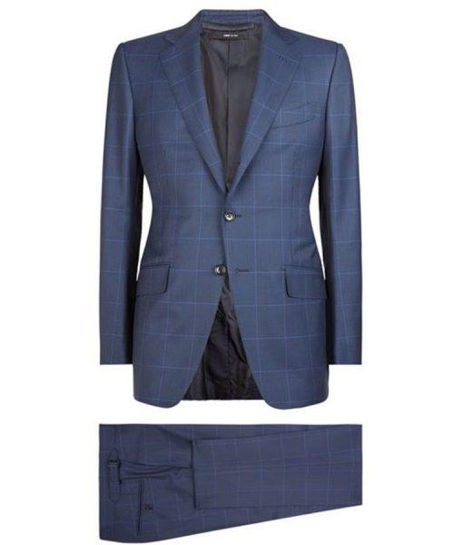 James Bond Spetre Blue Windowpane Suit
