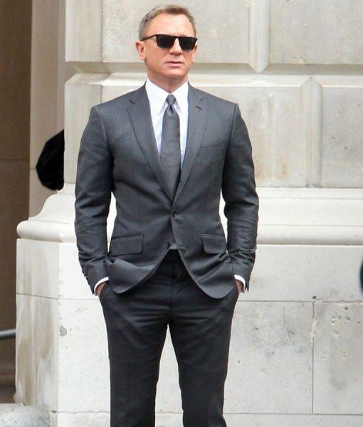 Daniel Craig Spectre Grey Pinstripe Suit