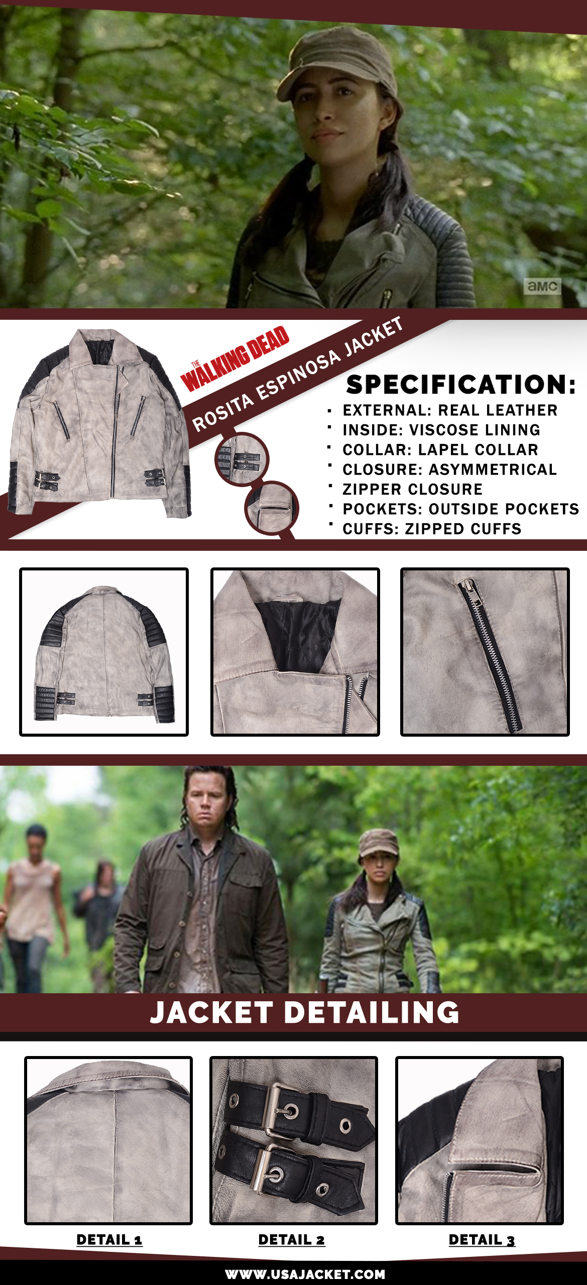 The Walking Dead Rosita Espinosa Jacket Inforgraphi