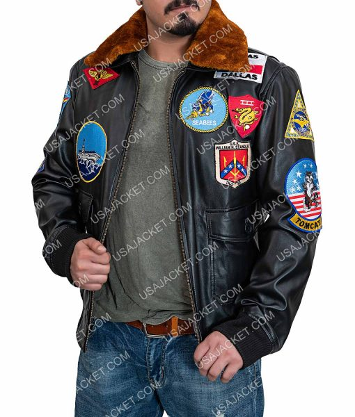 Tom Cruise Top Gun G-1 Flight Bomber Brown Leather Jacket