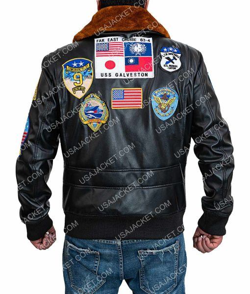 Tom Cruise Top Gun Patched G-1 Brown Leather Jacket