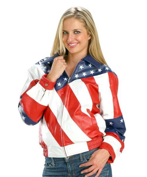 Leather jacket american flag