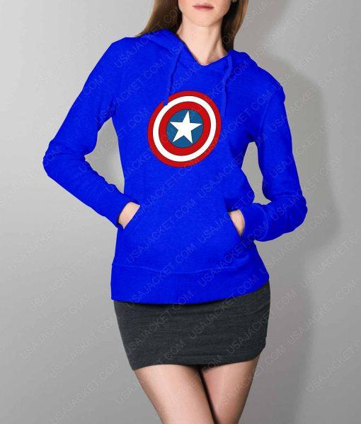 Womens Captain America Shield Logo Blue Hoodie