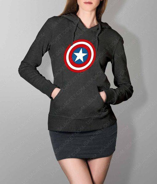 Womens Captain America Shield Logo Grey Hoodie