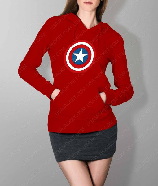 Womens Captain America Shield Logo Red Hoodie