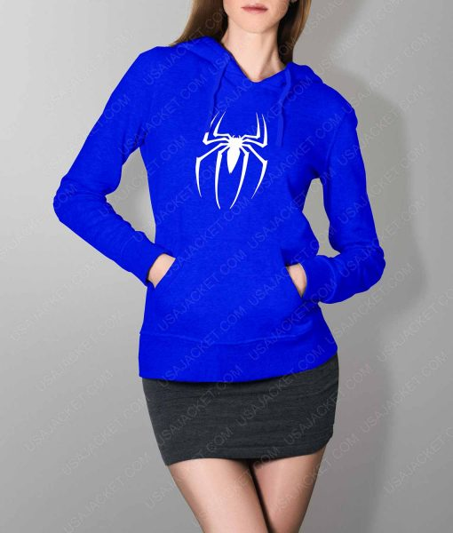 Womens Spiderman Logo Blue Hoodie