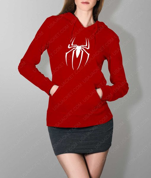 Womens Spiderman Logo Red Hoodie