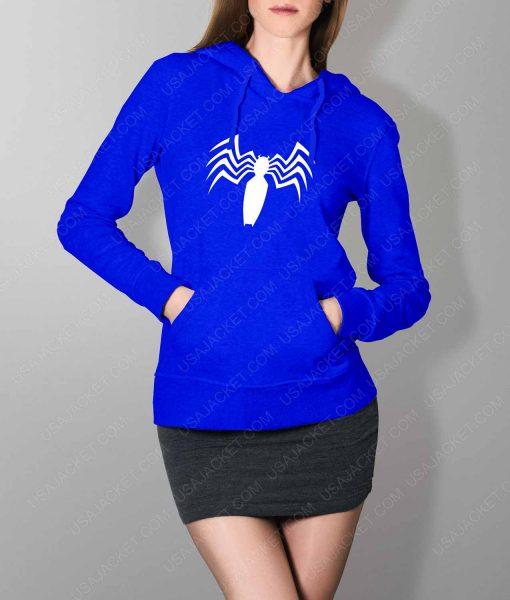 Womens Venom Spider Logo Blue Hoodie