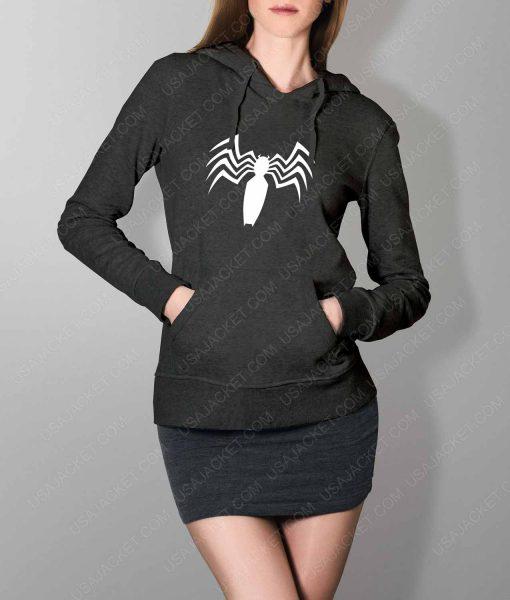 Womens Venom Spider Logo Grey Hoodie