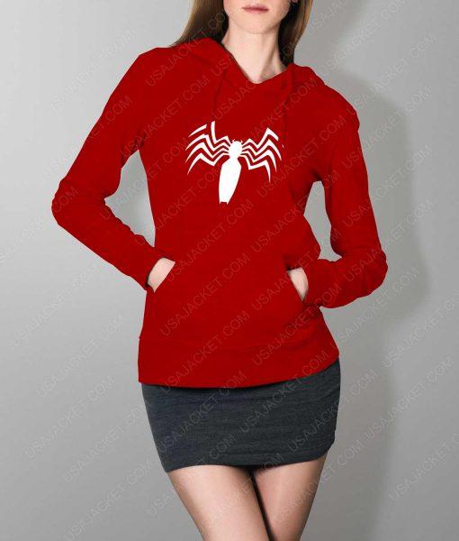 Womens Venom Spider Logo Red Hoodie