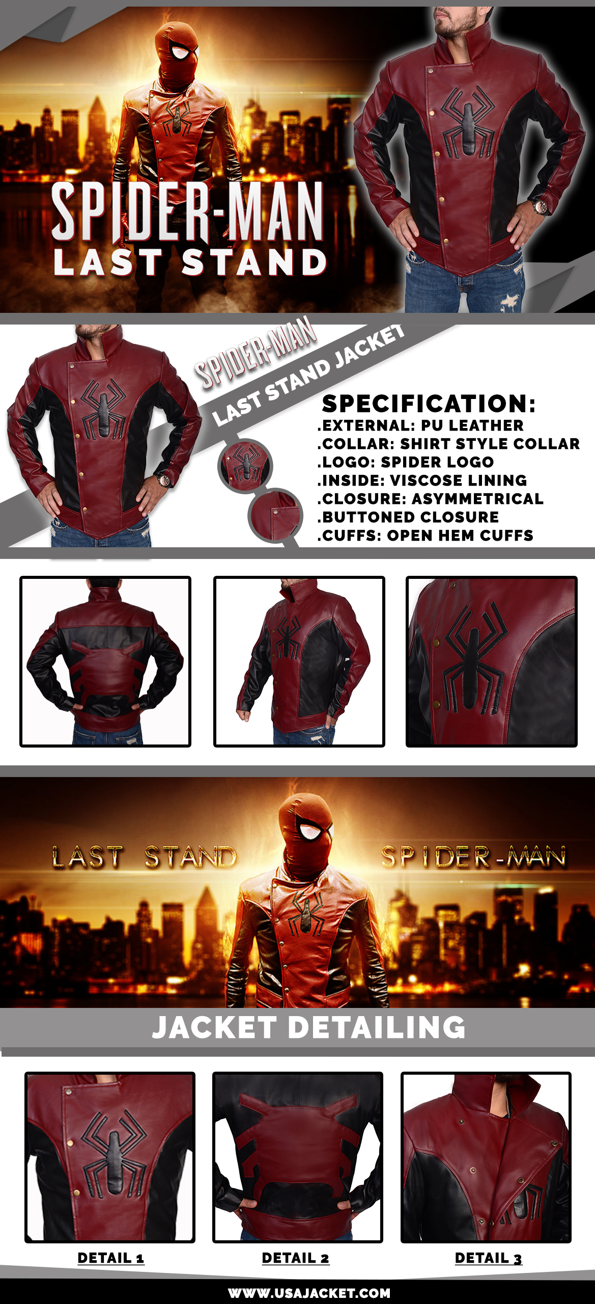spiderman last stand Jacket Infographic