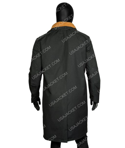 Blade Runner 2049 Officer K Black Leather Fur Shearling Coat