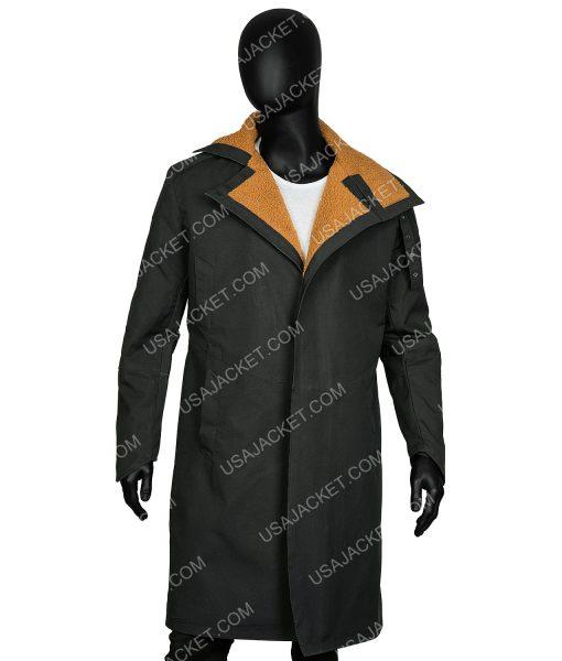 Ryan Gosling Blade Runner Officer K Black Leather Fur Shearling Coat