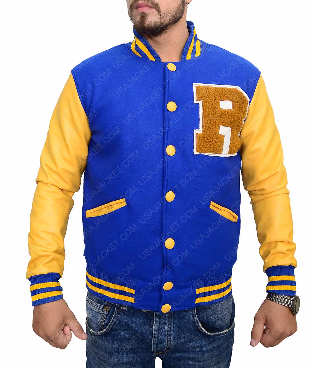 00702cbcb72df0 Mens Varsity Jacket In Cotton And Leather - USA Jacket