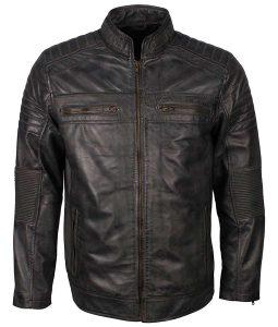 Biker Grey Waxed Mens Café Racer Shoulder Padded Leather Jacket