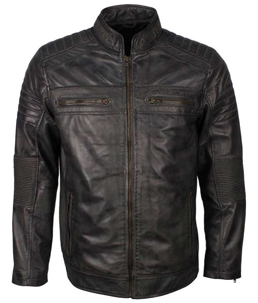 Biker Grey Waxed Mens Café Racer Shoulder Padded Leather Jacket