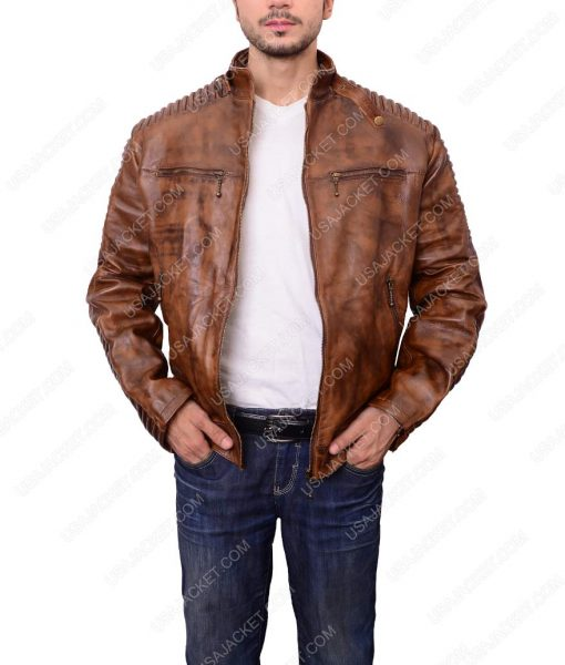 Mens Vintage Distress Brown Jacket