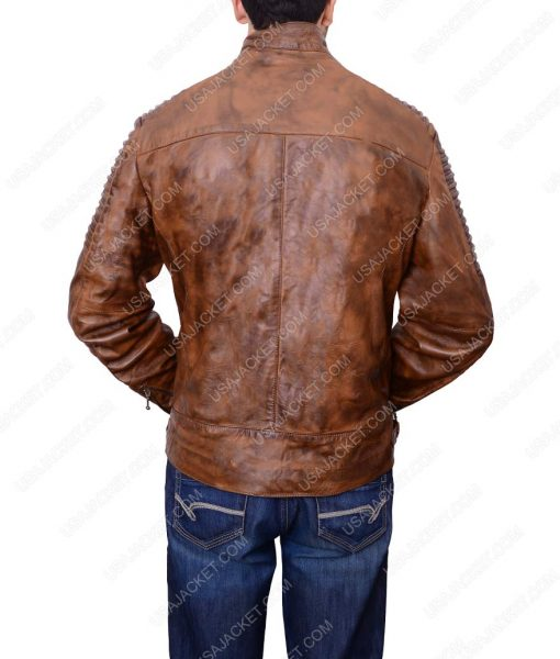 Bikers Four Zipper Pockets Leather Jacket