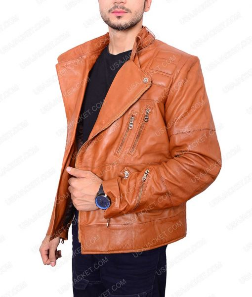 Padded Design Brown Leather Motorcycle Jacket