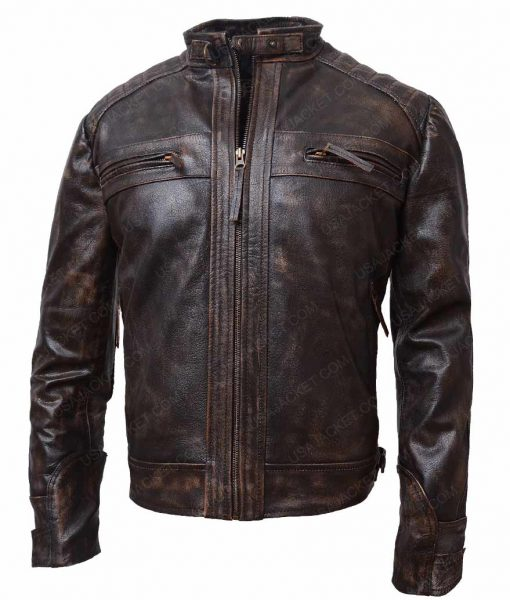 Brown Waxed Detailed Mens Black Four Pockets Café Racer Jacket