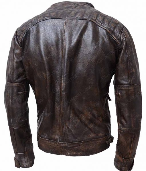 Brown Waxed Detailed Mens Black Four Pockets Café Racer Leather Jacket