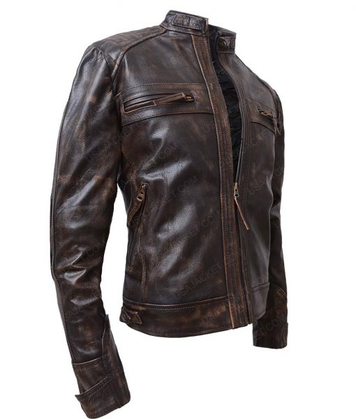 Brown Waxed Detailed Mens Black Four Pockets Leather Jacket