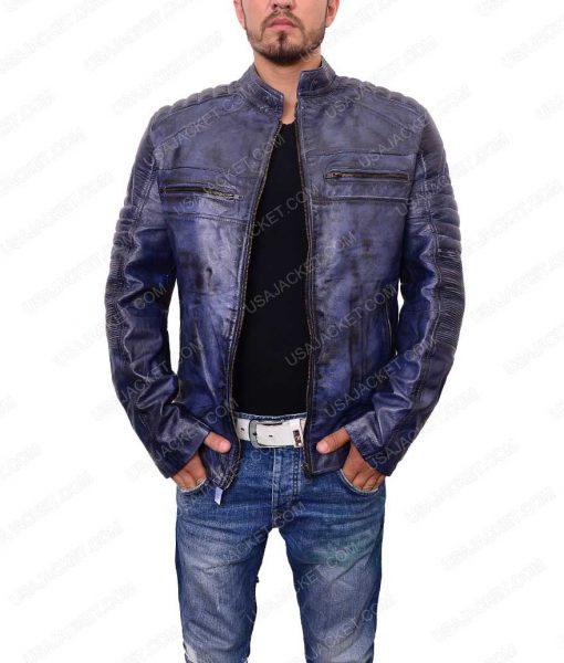 Mens Café Racer Blue Jacket