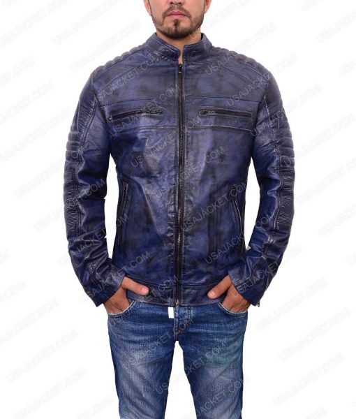 Café Racer Mens Blue Leather Jacket