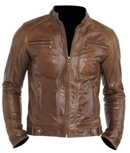 Chocolate Brown Mens Four Pockets Moto Jacket