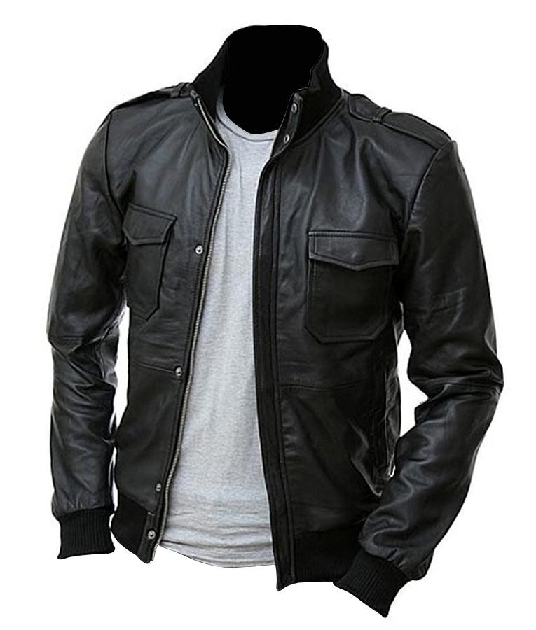 Mens Slimfit Black Double Closure Bomber Leather Jacket 0e7cd794bef