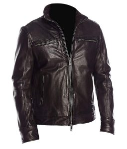 Mens Black Four Pockets Classic Biker Leather Jacket