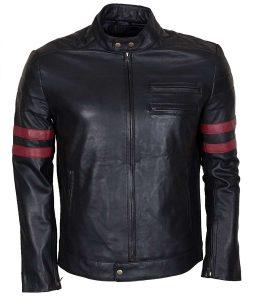 Mens Black Mayhem Retro Café racer Red Stripe Biker Leather Jacket