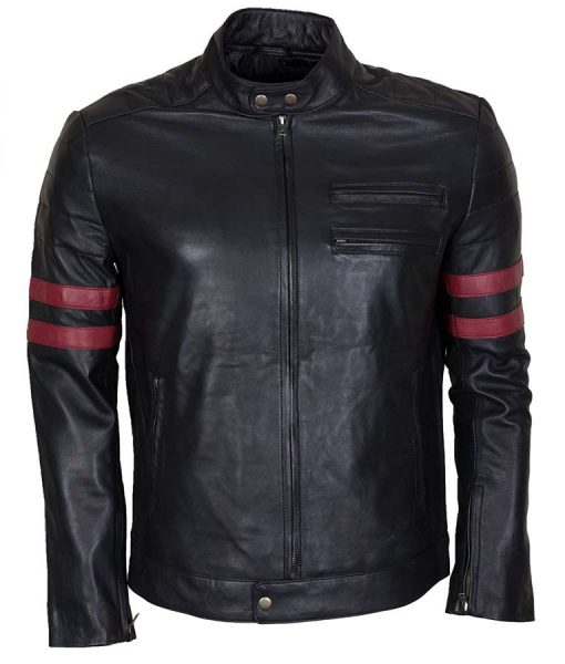 Mens Black Mayhem Retro Café racer Red Stripe Biker Leather Jacket