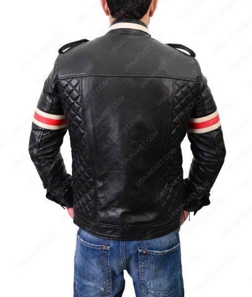 Mens White Striped Slimfit Black Biker Leather Jacket