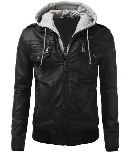 Mens Black Slimfit Bomber Biker Leather Jacket