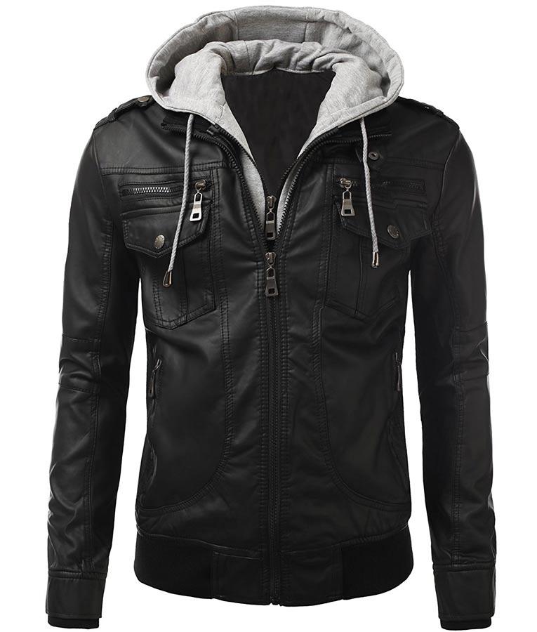 72501b9726d Mens Slimfit Black Biker Leather Jacket With Detachable Hood