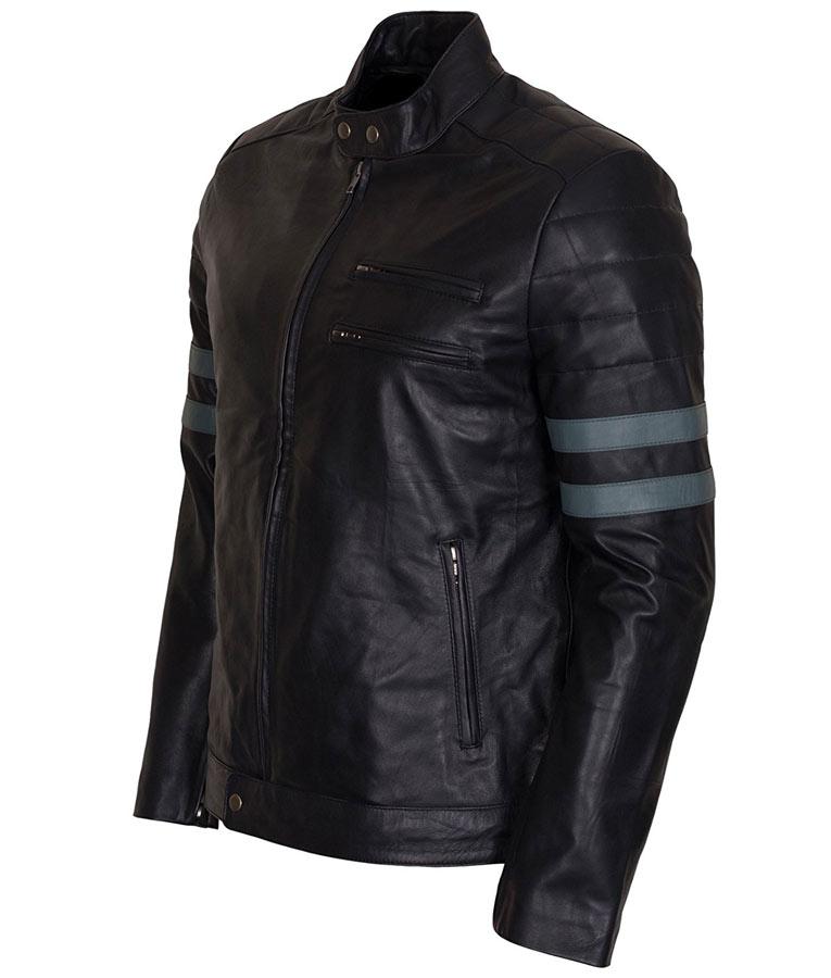 Blue and black biker jacket
